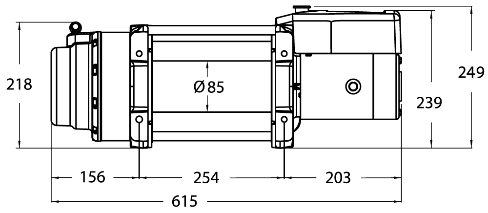 Maatschets WARN type 16,5ti - 12V heavy weight treklier met stalen kabel