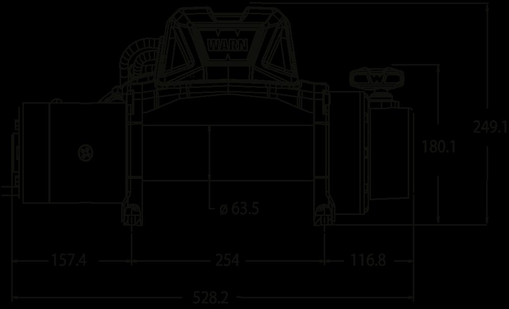 Maatschets WARN type Tabor 10 of Tabor 10-S - 12V of 24V standaard treklier met staalkabel