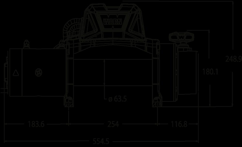 Maatschets WARN type Tabor 12 of Tabor 12-S - 12V of 24V standaard treklier met staalkabel