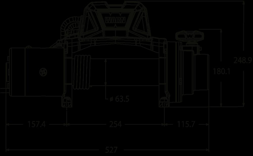 Maatschets WARN type Tabor 8 of Tabor 8-S - 12V standaard treklier met staalkabel